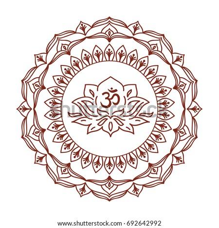 Om symbol hand drawn mandala lotus stock vector 692642992 shutterstock om symbol with hand drawn mandala and lotus flower set of oriental ornaments for greeting mightylinksfo