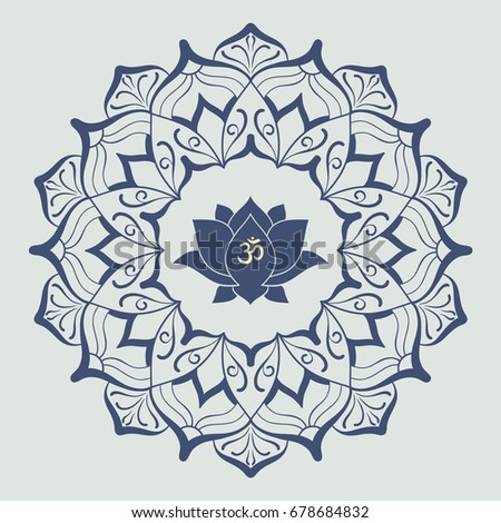 Om symbol hand drawn mandala lotus stock vector royalty free om symbol with hand drawn mandala and lotus set of oriental ornaments for greeting card mightylinksfo