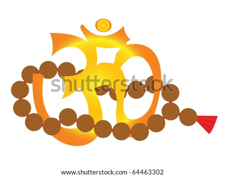 Om - yoga symbol and mala - yoga rosary - stock vector