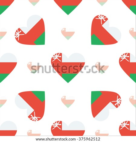 Oman flag heart seamless pattern. Patriotic Oman flag background. Country flag in the shape of heart. Vector seamless pattern.