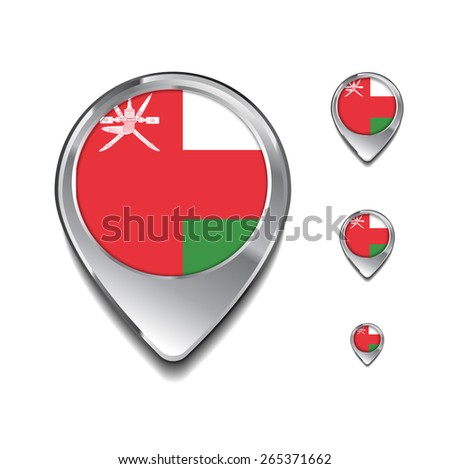 Oman flag map pointer. 3d Map Pointer with flag glossy button style on gray background - stock vector