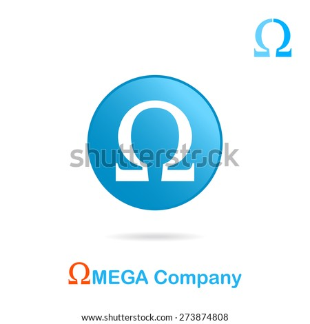 Omega Letter Logo Concept On Plate Stock Vector Royalty Free
