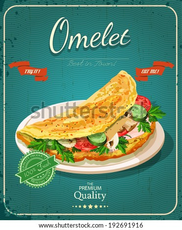 Omelet. Diet healthy food - scrambled eggs. Poster in vintage style. - stock vector