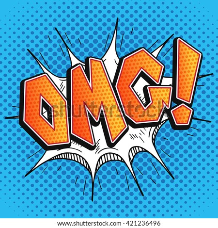 OMG comic bubble in retro pop art style. Surprise OMG - Oh My God word comics. - stock vector