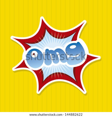 omg comics icon over yellow background vector illustration - stock vector