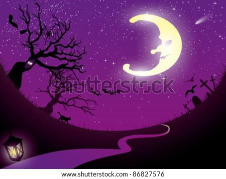 Ominous moon night.  Vector  illustration . - stock vector