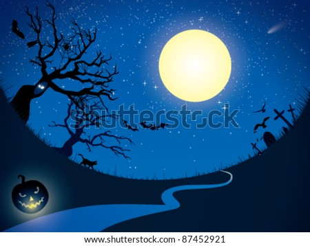Ominous moon night.  Vector  illustration. - stock vector