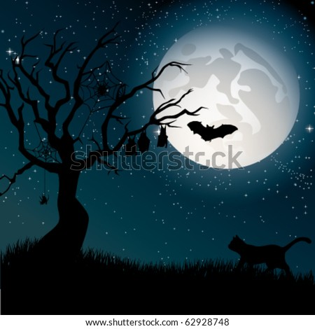 Ominous moon night with silhouettes of the tree, cat, bats and spiders. - stock vector