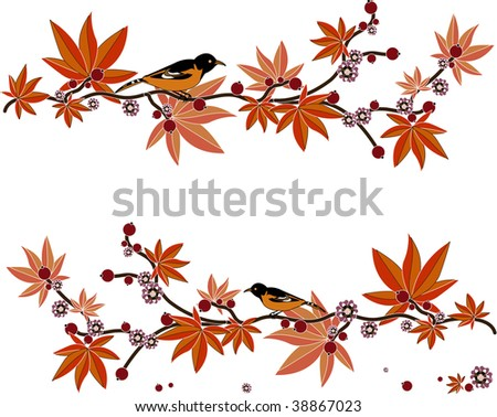 on a beautiful tree branch with berries and flowers in the Japanese style sitting pretty birds - stock vector
