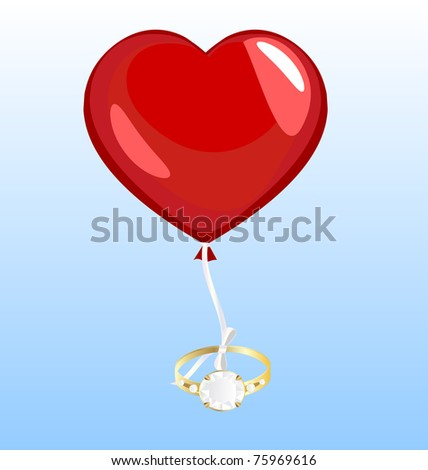 on a blue background flying a balloon in the form of hearts, to which the ribbon is tied a large gold ring - stock vector