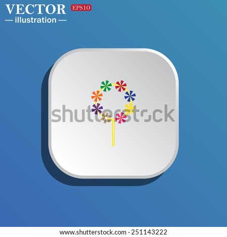 On a blue background white square with rounded corners. Children's toy wind mill, turntables, pinwheel wind vane, vector illustration, EPS 10 - stock vector