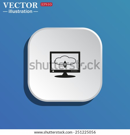 On a blue background white square with rounded corners. cloud storage on the computer, vector illustration, EPS 10 - stock vector