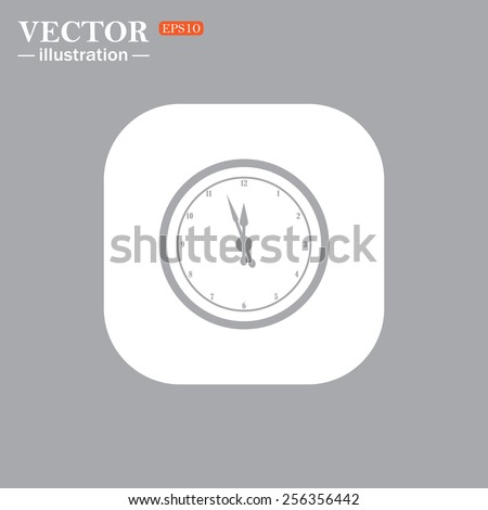 On a gray background gray icon,  mechanical clock. Vector illustration, EPS 10  - stock vector
