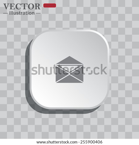 On a gray background white square with rounded corners. icon  open envelope with a letter, vector, EPS 10 - stock vector