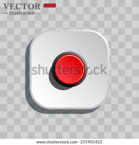 On a gray background white square with rounded corners. icon  Red button start, stop. Vector illustration, EPS 10 - stock vector
