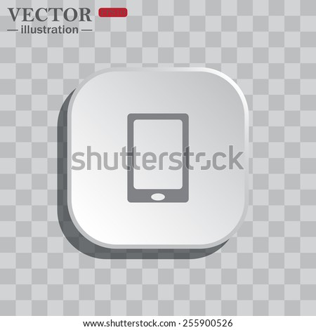 On a gray background white square with rounded corners. icon  Smartphone, phone, mobile phone , vector illustration, EPS 10 - stock vector