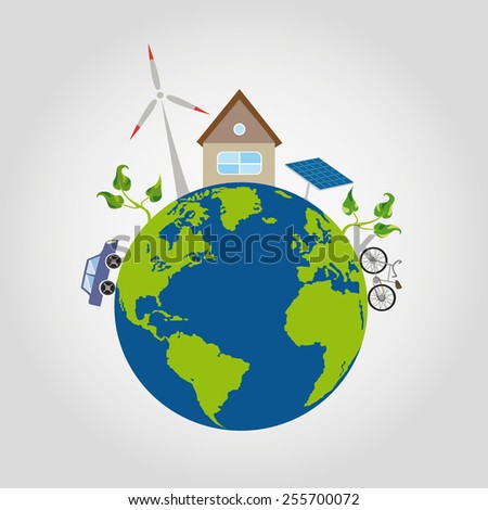 on a green planet earth with blue oceans is a comfortable house and alternative sources of energy, windmill, solar battery, the car on the ecological fuel and bike plants with sprouts - stock vector