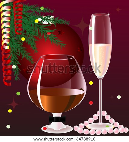 on a red background with Christmas decorations male with a glass of brandy and a woman a glass of champagne - stock vector