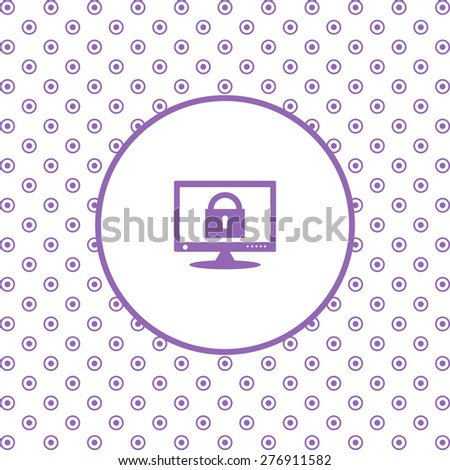 On a white background pink circles. Computer security concept. icon. vector design - stock vector