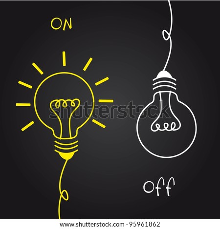 on and off bulb electric over black background. vector - stock vector