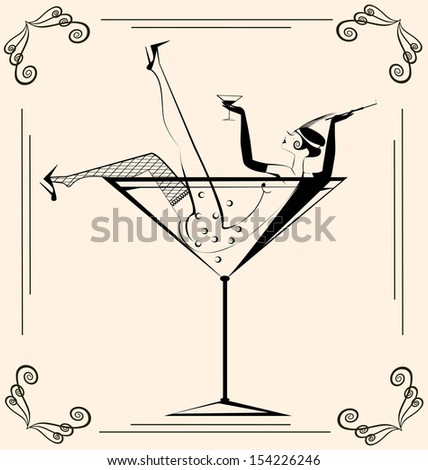 on beige background is retro sexy girl in the large glass - stock vector