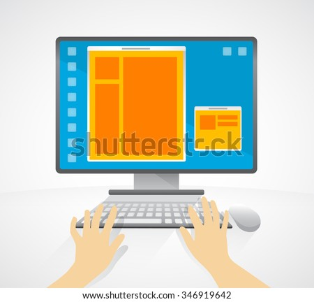 On line learning - personal computer - Illustration. Monitor, keyboard, mouse, typing, internet communication.  - stock vector