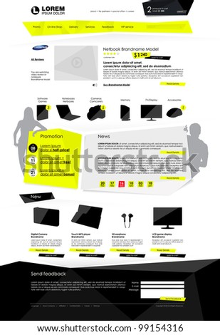On-line shop template web site - stock vector