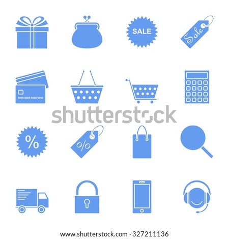 On line shopping icons. Blue icons.
