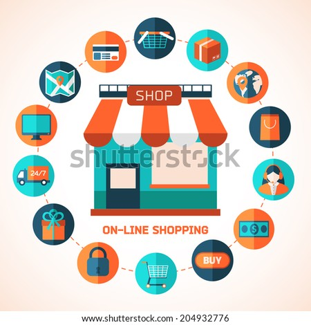 On-line shopping infographic background.  Colorful design elements for mobile and web applications.  - stock vector