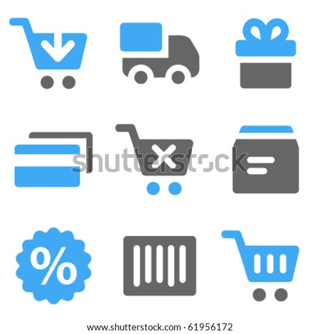 On-line shopping web icons, blue and grey solid icons - stock vector