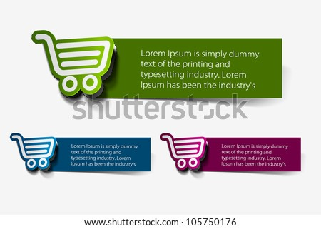 On-line shopping web icons, template, label design. - stock vector