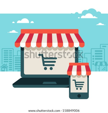 On line store. Sale, Laptop and smart phone with awning  - stock vector