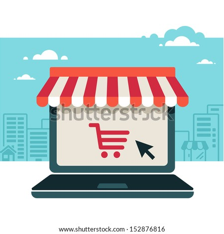 On line store. Sale, Laptop with awning  - stock vector