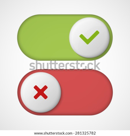 On off 3d switches sliders with red and green color. With Yes And No. Vector illustration