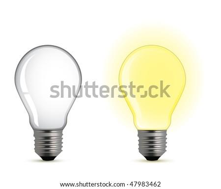 On/off light bulb - stock vector