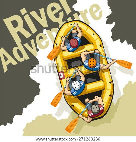 On rough mountain river in a yellow inflatable boat rafting sit four men in helmets and life jackets. People are holding paddles and work together. - stock vector