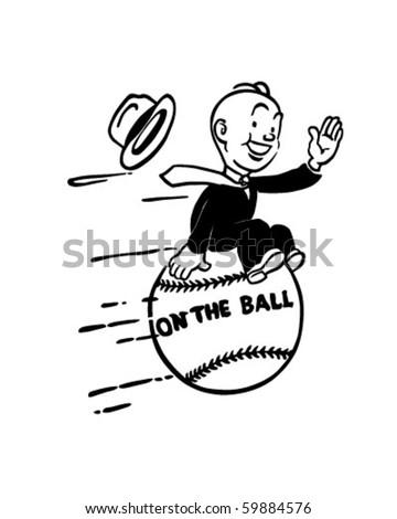On The Ball - Retro Clip Art - stock vector