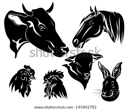 on the farm design set - black and white animals heads - stock vector