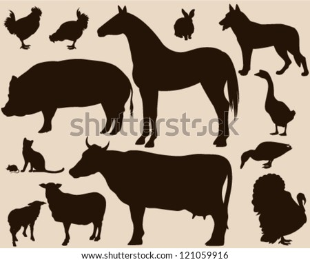 on the farm - set of detailed vector animals silhouettes - brown outlines over beige - stock vector