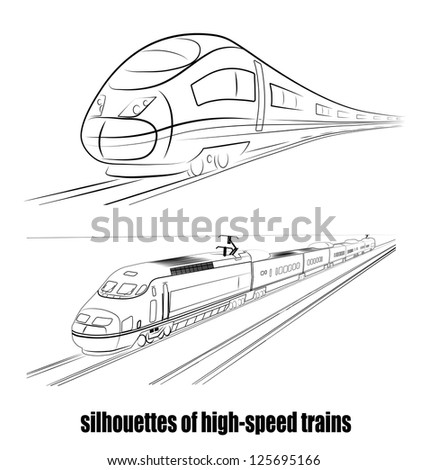 on the image the abstract silhouette of the train is presented - stock vector