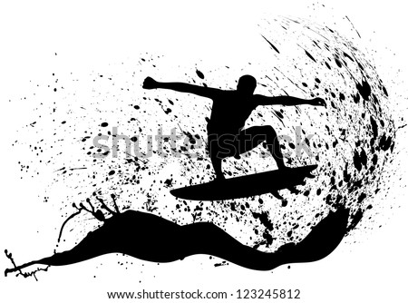 on the image the silhouette of surfers is presented - stock vector