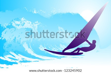 on the image the surfer on waves is presented