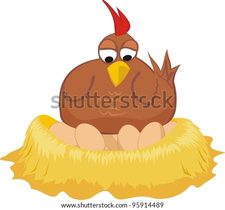on the nest - hen and eggs - stock vector
