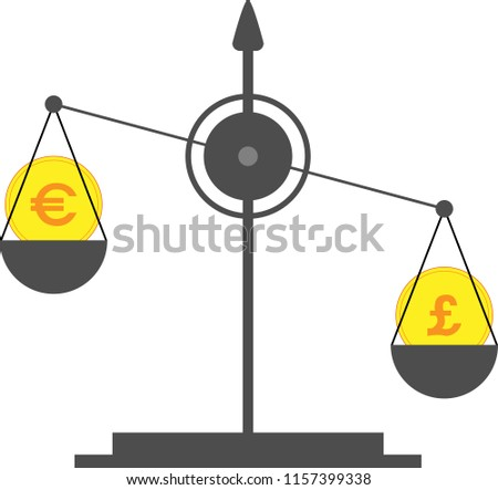 On Scales Coin Symbol English Pound Stock Vector 1157399338