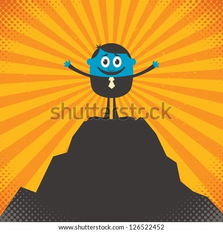 On Top: Conceptual illustration for success, depicting character on top of mountain. - stock vector