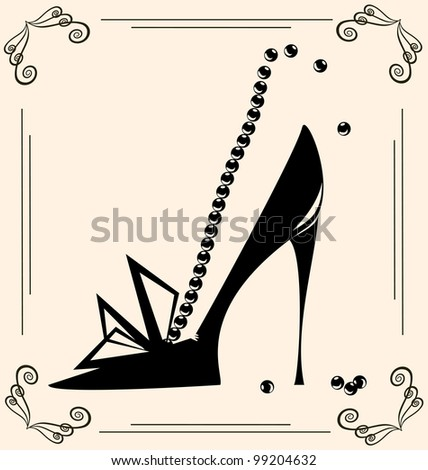 on vintage background are black outlines woman's shoe - stock vector