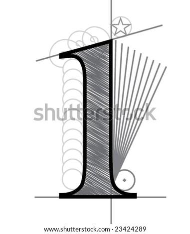 One - stock vector