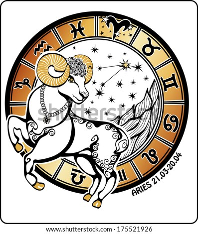 One Aries  rides behind them are symbols of all zodiac signs Horoscope circle. On a white background.Graphic  Illustration.   - stock vector