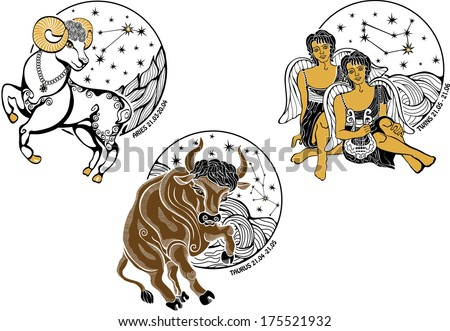 One Aries  rides,One Taurus  rides,two Twins boys sit.Behind are stars.Designer screen saver or templates.White background.Horoscope zodiac sign.Gemini,Aries,Taurus - stock vector