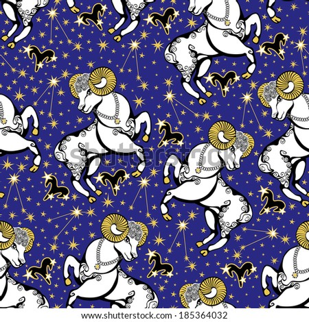 One Aries ,zodiac signs ,constellation, stars in Horoscope seamless pattern.Golden stars,white Aries on blue background.Vector background,  packing,Wallpaper, fabric. Illustration in retro style. - stock vector